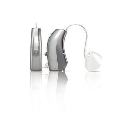 Hinter-dem-Ohr-Hörgerät: Mit Schallschlauch und individuellem Ohrpassstück oder externem Hörer erhältlich.