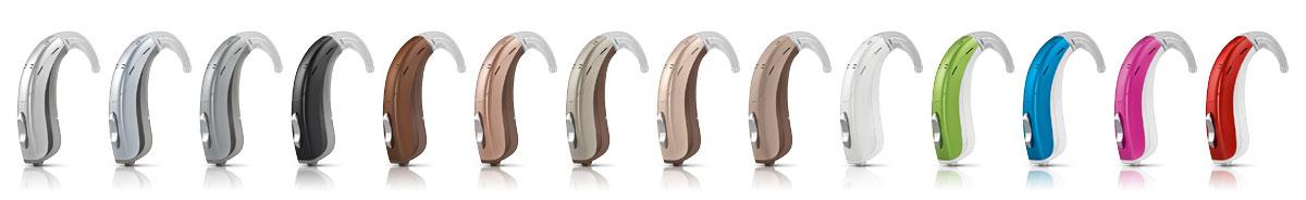 Von unauffällig bis knallig sind HdO-Geräte in vielen Farben erhältlich.